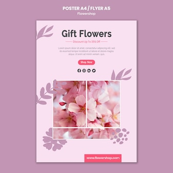 Gift flowersposter template