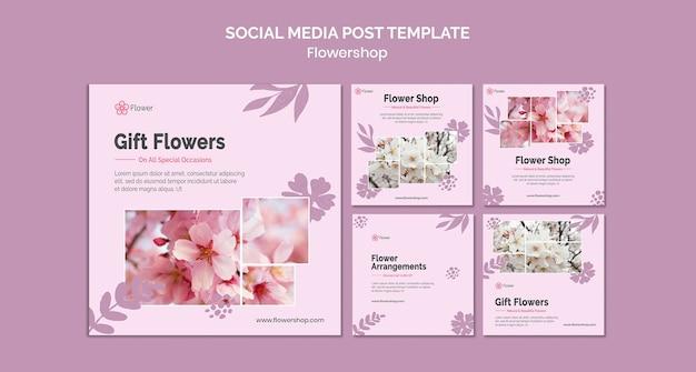 Modello di post sui social media con fiori regalo