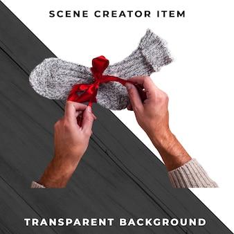 Носок подарка изолированный с путем клиппирования.