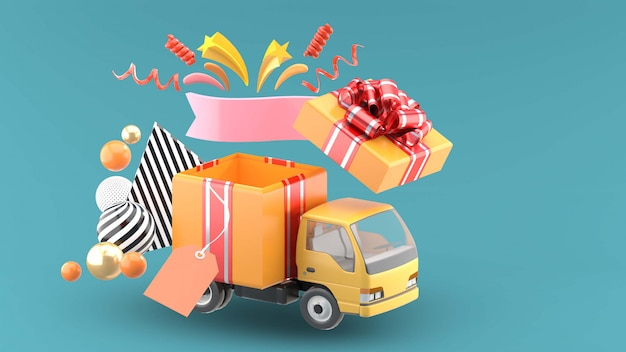 Gift trucks open with stars and ribbons on blue
