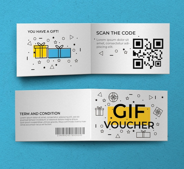 Gift voucher front and back mockup