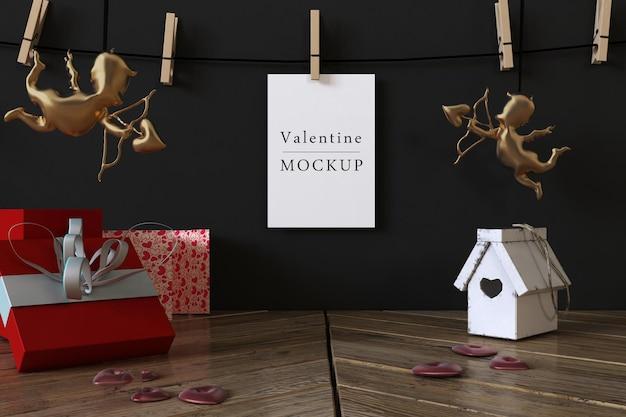 Макет подарочной карты с композицией валентинок