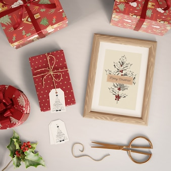 Gifts with tags and painting with christmas theme