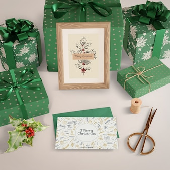 Gifts wrapped in decorative paper on table