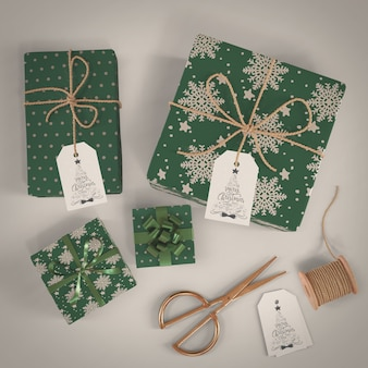 Gifts wrapped in green decorative paper