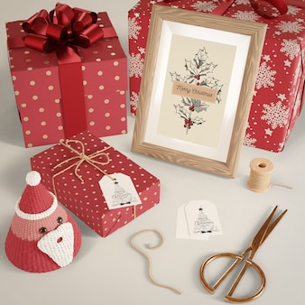 Gifts wrapped in red paper on table