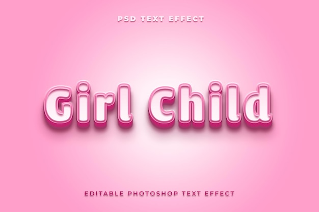 Gilr child text effect template with pink color