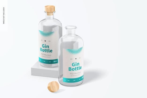 Mockup di bottiglie di gin, prospettiva