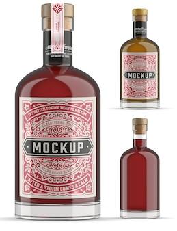 Gin glass bottle mockup isolated