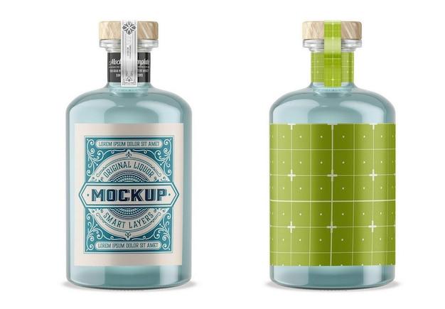 Gin glass bottle mockup