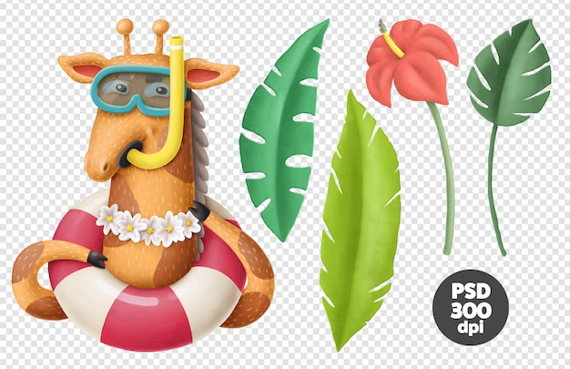 Giraffe character and tropical leaves