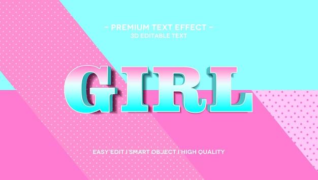 Шаблон эффекта стиля 3d-текста для девочек