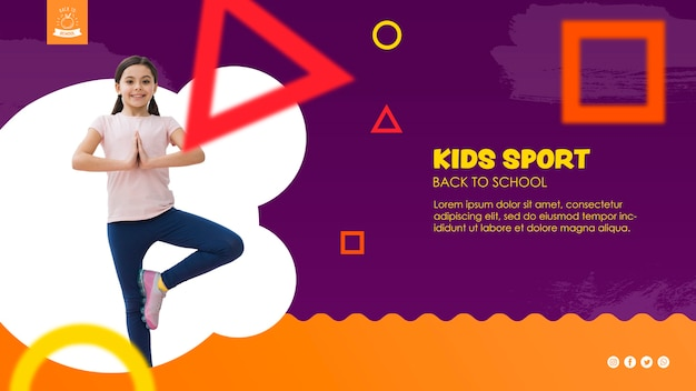 Girl balancing for kids sport template