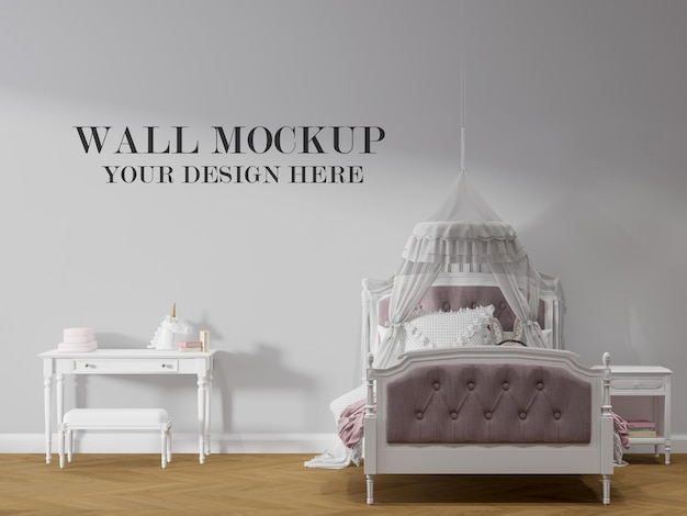 Girl bedroom wall background in 3d rendering
