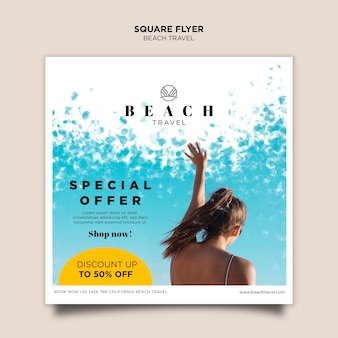 Girl best summer time square flyer template