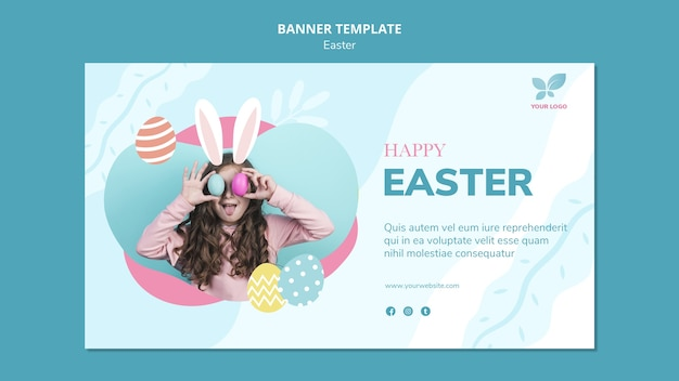 Girl and colourful eggs easter banner template