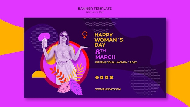 Girl holding coffee women's day banner template
