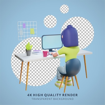 A girl is working in front of a computer high quality 3d render work from home illustration
