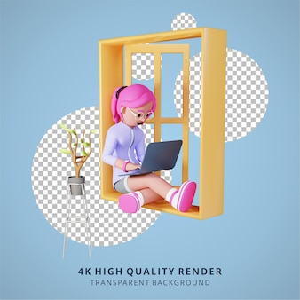 A girl is working with laptop in window high quality 3d render work from home illustration