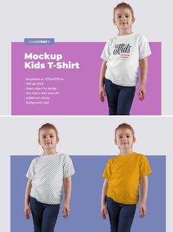 소녀 키즈 티셔츠 모형. 이미지 디자인 (티셔츠 위), 티셔츠 색상, 컬러 배경을 사용자 정의하여 디자인이 쉽습니다.