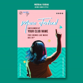 Girl listening to music festival poster template
