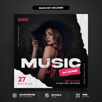 Girl music live party social media post template