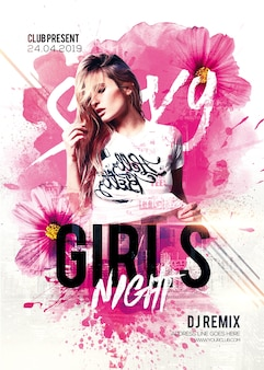 Girl night dance party flyer