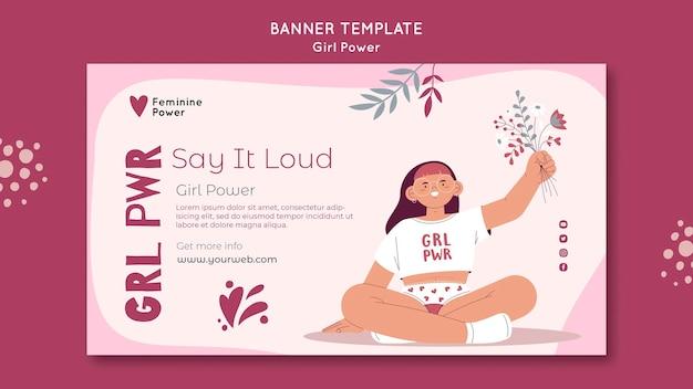 Шаблон баннера girl power Бесплатные Psd