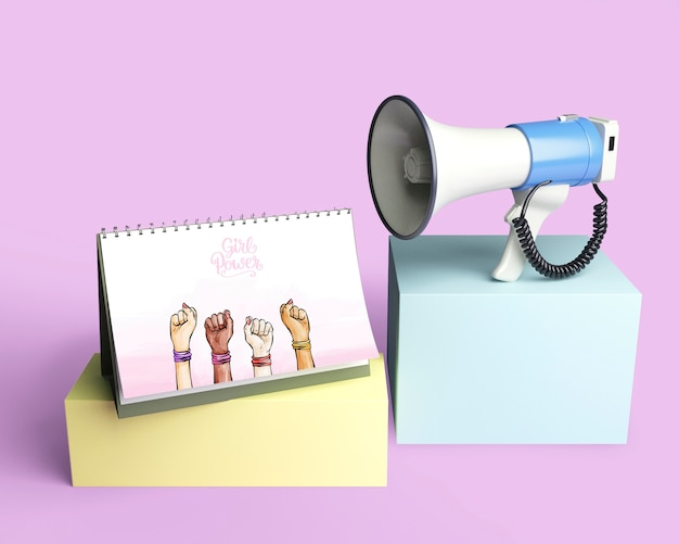 Girl power concept with megaphone