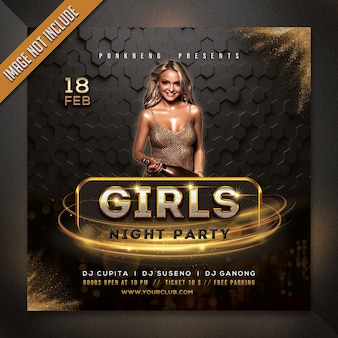 Girl's night party flyer template