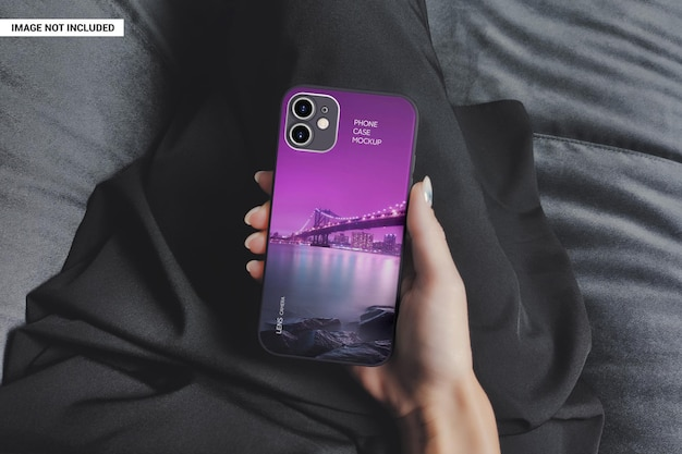 Girl shows a branded phone case mockup