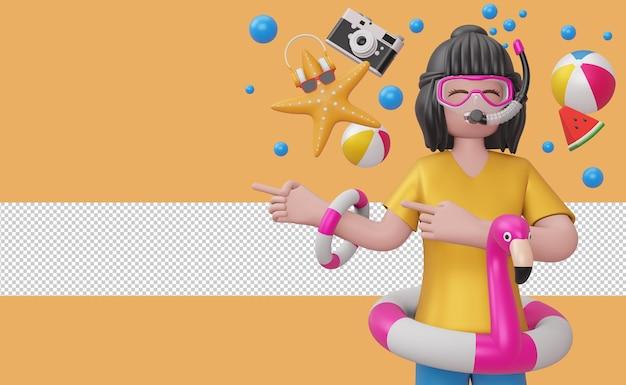 Девушка в маске для подводного плавания в плавательном кольце фламинго с пляжным аксессуаром