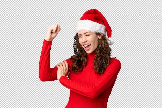 Girl with christmas hat making strong gesture