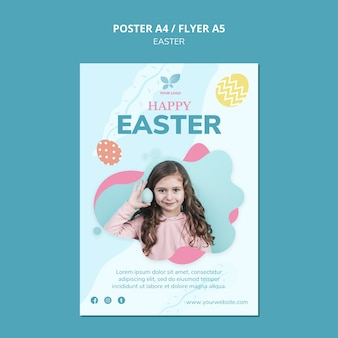 Girl with easter eggs poster template