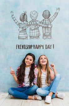 Girls on friendship day mock-up
