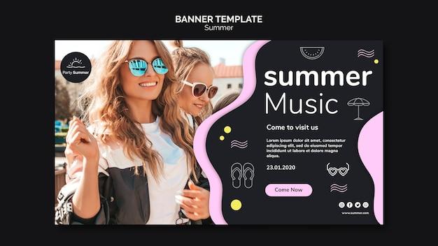 Girls in summer sun banner template