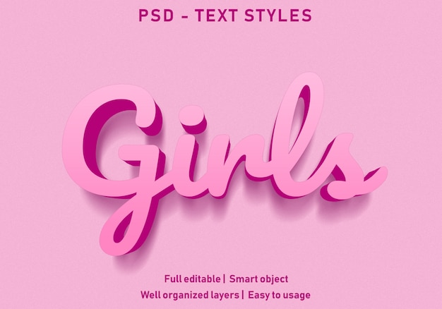 Girls text effect style