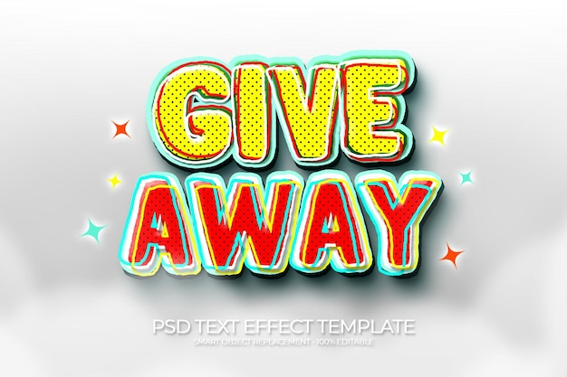 Give away 3d text effect custom with cloud and stars blue color