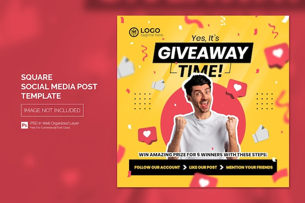 Give away social media post or square web banner template