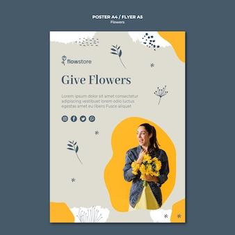 好きな人に花をあげるポスターテンプレート