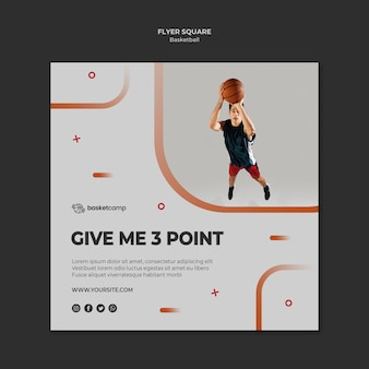 Give me 3 points basketball square flyer template