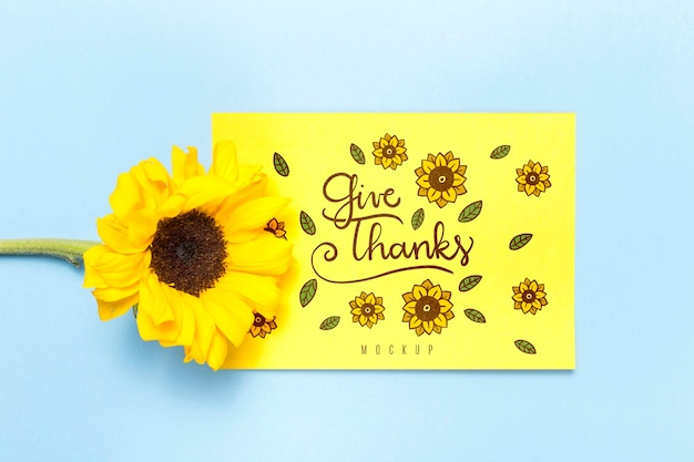 Give thanks mock-up with flower