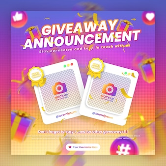 Giveaway contest promotion social media instagram post template with mockup