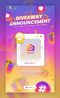 Giveaway contest promotion social media instagram story post template with mockup