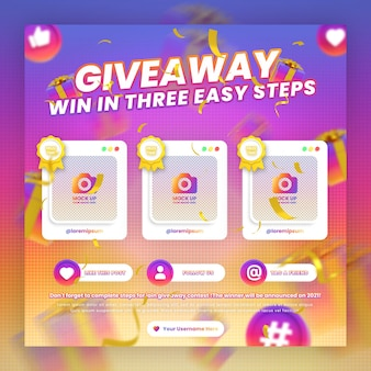 Giveaway contest promotion and steps social media instagram post template with mockup
