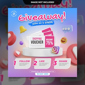 Giveaway instagram contest social media post template