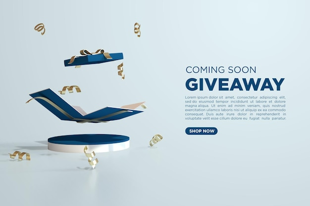 Giveaway luxury 3d render for social media template