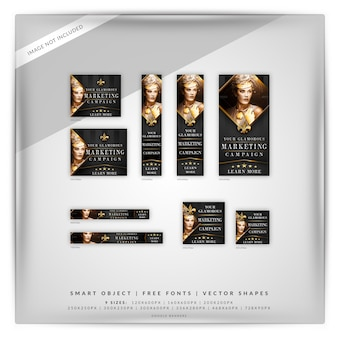 Glamour fashion & beauty google banner set