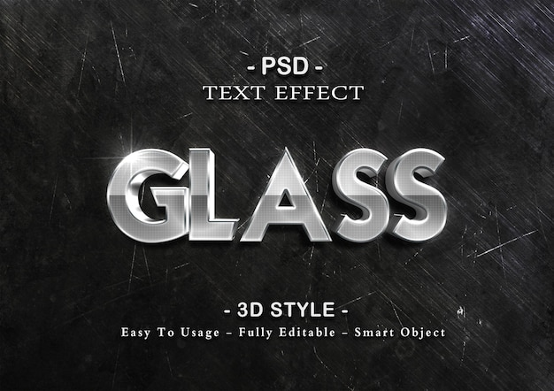 Glass 3d text effect template