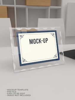 Glass acrylic mockup on table